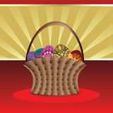 Easter card with basket of eggs Royalty Free Stock Photos