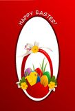 Easter card. With basket with eggs Stock Images