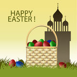 Easter card with basket and eggs. Colored Vector Easter card with basket, eggs, church and the inscription on a yellow background Royalty Free Stock Image