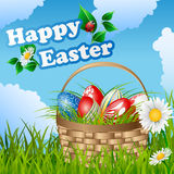 Easter card with basket and eggs Royalty Free Stock Images