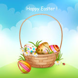 Easter card with basket of eggs. vector illustration