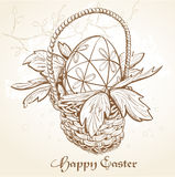 Easter card with a basket and eggs. Vintage.  Stock Photos