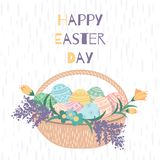 Easter card with a basket of flowers stock illustration