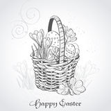 Easter card with a basket and flowers.Vintage. Easter card with a basket and flowers. Vintage background Royalty Free Stock Photo