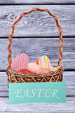 Easter card and basket. Royalty Free Stock Photo