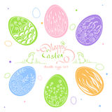 Easter card with beautiful inscription: Happy Easter. In a frame of grass with a rabbit and a bird. Set Doodle Easter eggs, hand-drawn  illustration Stock Photography