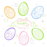 Easter card with beautiful inscription: Happy Easter, in a frame. Set Doodle Easter eggs, hand-drawn  illustration. Easter card with beautiful inscription: Happy Royalty Free Stock Image