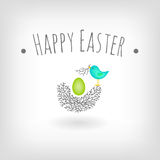 Easter card bird nest. Easter card, bird nest and egg vector graphic design Stock Photos