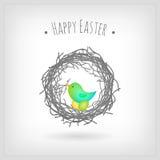 Easter card bird nest. Easter card, bird hatching eggs in nest Stock Photo