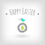 Easter card bird nest Stock Photos