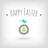 Easter card bird nest. Easter card, bird nest and egg  graphic design Stock Photos