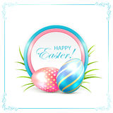 Easter card with blue and pink eggs Stock Images