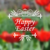 Easter card on blur tulip background Royalty Free Stock Photography