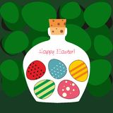 Easter card - Bottle filled with  Easter eggs - vector. Bottle filled with decorated Easter eggs inside. Eps file available Stock Photos