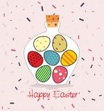 Easter card with Bottle filled with Easter eggs. Decorative background and greeting Happy easter Stock Photo