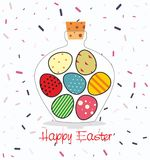 Easter card with Bottle filled with Easter eggs. Decorative background and greeting Happy easter Stock Photography