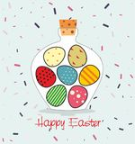 Easter card with Bottle filled with Easter eggs. Decorative background and greeting Happy easter Stock Image