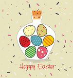 Easter card with Bottle filled with Easter eggs. Decorative background and greeting Happy easter Royalty Free Stock Photos
