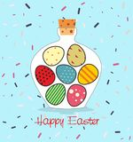 Easter card with Bottle filled with Easter eggs. Decorative background and greeting Happy easter Royalty Free Stock Image