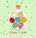 Easter card with Bottle filled with Easter eggs. Decorative background and greeting Happy easter Royalty Free Stock Images