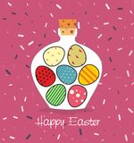 Easter card with Bottle filled with Easter eggs. Decorative background and greeting Happy easter Royalty Free Stock Photo