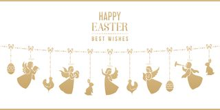 Easter card with bunnies, chickens, angels, eggs. Golden isolated silhouettes of angels with ornamental wings, hens, rabbits and Easter eggs. Best wishes, happy Stock Photography