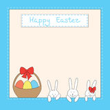 Easter card with bunnies, eggs and basket. Easter card with funny bunnies, eggs in the basket and place for your text Royalty Free Stock Photography