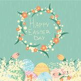 Happy Easter day card with eggs and flowers royalty free illustration