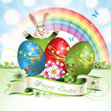 Easter card with bunny Stock Photography