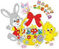 Easter card with Bunny and Chick Royalty Free Stock Images