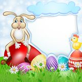 Easter card with bunny and chicken over egg background vector illustration