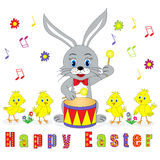 Easter card. bunny with drum and chicks Royalty Free Stock Image
