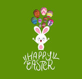 Easter card with bunny and egg fly Royalty Free Stock Image