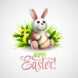 Easter card with bunny, eggs and flowers. Vector Stock Image