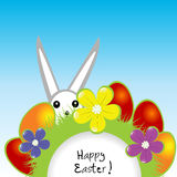 Easter card with bunny and eggs Royalty Free Stock Photography