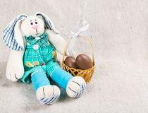 Easter card with bunny and eggs stock photography