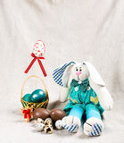 Easter card with bunny and eggs stock image