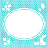 Easter card with bunny and eggs. Spring leaves. Polka dots on a background. Aquamarine shades Royalty Free Stock Image