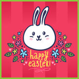Easter card with bunny and flowers Royalty Free Stock Photo