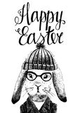 Easter card with bunny hipster Stock Photos