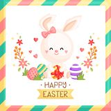 An Easter Card of Bunny Holding Easter eggs with Bow and Spring Floral stock illustration
