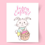 Easter card with Bunny. Easter card.  White Easter Bunny with egg in a basket. Hand Lettering Happy Easter! Hand-drawn illustration. Vector Stock Image