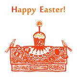 Easter card. With Easter cake, eggs and birds Royalty Free Stock Photos