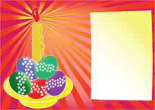 Easter card with a candle. Easter card with the place for greetings, a cadle and a plate with eggs Stock Images