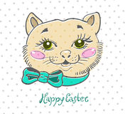 Easter card with cat and flowers Stock Photo