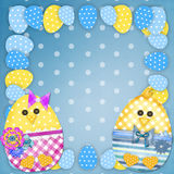 Easter card with a  chick Royalty Free Stock Images