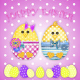 Easter card with a  chick Stock Images