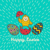 Easter card with chick and eggs Stock Photos
