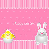 Easter card with chick and hare Stock Image