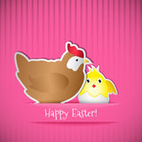 Easter card with chicken and chick Stock Photo